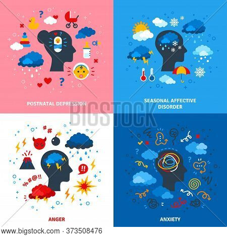 Flat Design Vector Illustration Concepts Of Postpartum Depression, Anger, Seasonal Affective Disorde