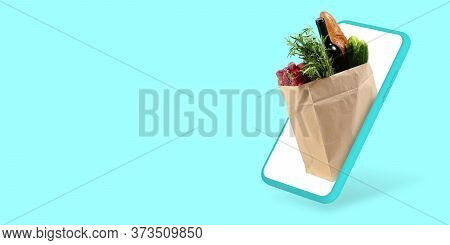 Wine And Bread, Vegetables. Home Delivery, Food Purchase, Order Via The Internet. Your Smartphone Fo
