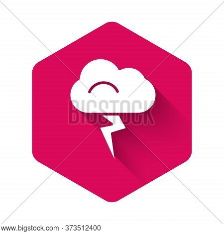 White Storm Icon Isolated With Long Shadow. Cloud And Lightning Sign. Weather Icon Of Storm. Pink He