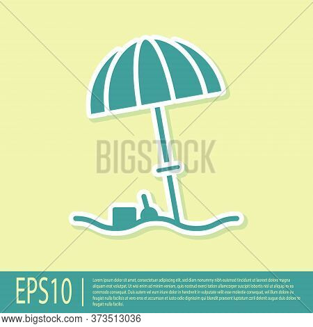 Green Sun Protective Umbrella For Beach Icon Isolated On Yellow Background. Large Parasol For Outdoo