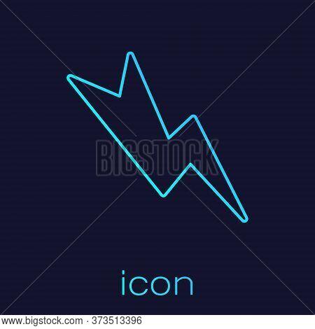 Turquoise Line Lightning Bolt Icon Isolated On Blue Background. Flash Sign. Charge Flash Icon. Thund