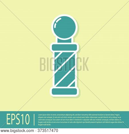 Green Classic Barber Shop Pole Icon Isolated On Yellow Background. Barbershop Pole Symbol. Vector Il