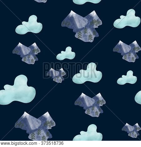 Blue Clouds Background And Blue Snowy Mountains On Dark Blue Background. Seamless Pattern. Travel, S