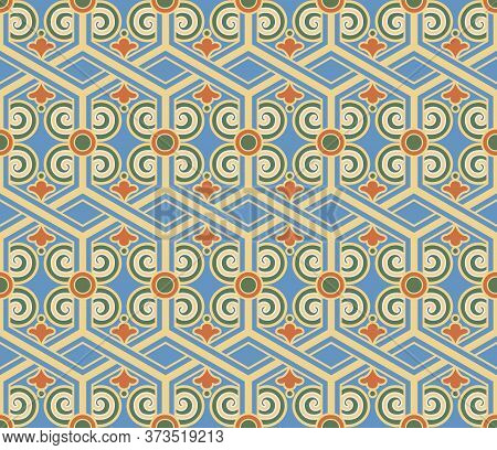 Retro Vintage Chinese Traditional Pattern Seamless Background Polygon Cross Frame Spiral Curve Trace