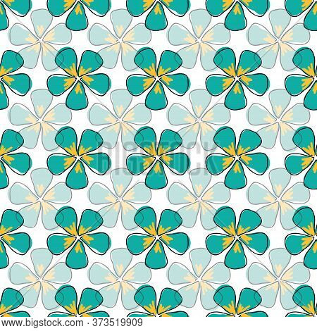 Flowers, Opaque And Translucent Blue Teal On White Background Seamless Repeat Vector Pattern Surface