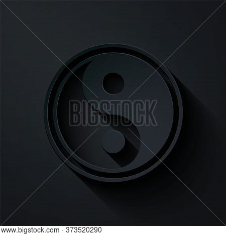 Paper Cut Yin Yang Symbol Of Harmony And Balance Icon Isolated On Black Background. Paper Art Style.