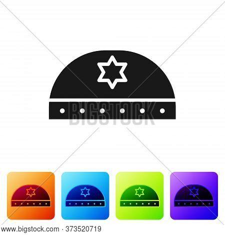 Black Jewish Kippah With Star Of David Icon Isolated On White Background. Jewish Yarmulke Hat. Set I