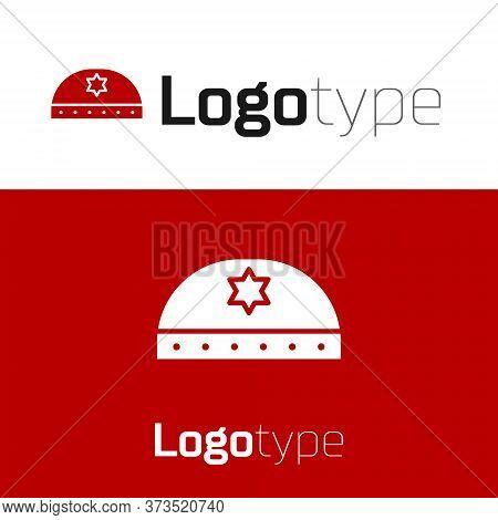 Red Jewish Kippah With Star Of David Icon Isolated On White Background. Jewish Yarmulke Hat. Logo De