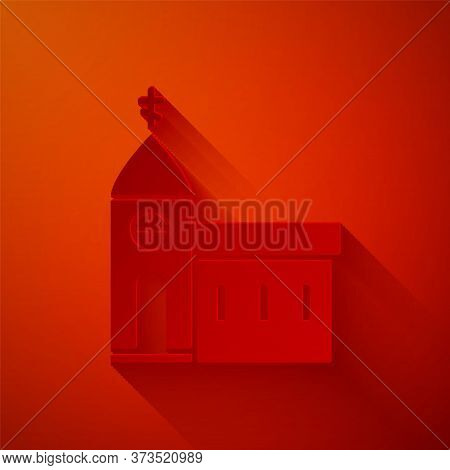Paper Cut Church Building Icon Isolated On Red Background. Christian Church. Religion Of Church. Pap