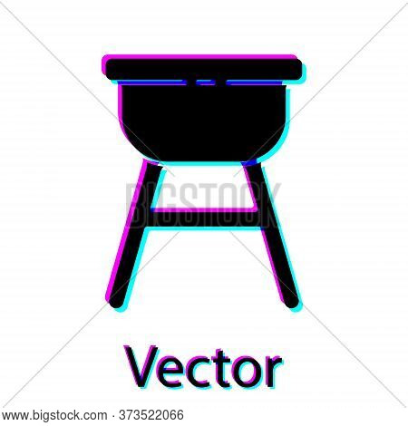 Black Barbecue Grill Icon Isolated On White Background. Bbq Grill Party. Vector Illustration