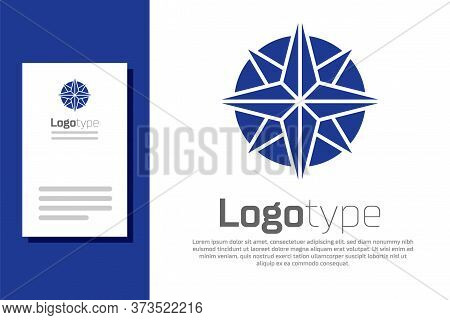 Blue Wind Rose Icon Isolated On White Background. Compass Icon For Travel. Navigation Design. Logo D