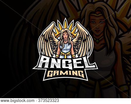 Angel Mascot Sport Logo Design. Guardian Angel Mascot Vector Illustration Logo. Angel Woman Mascot D