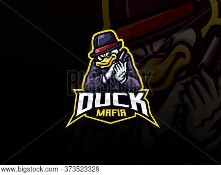 Duck Mascot Sport Logo Design. Duck Gangster Animal Mascot Vector Illustration Logo. Duck Mafia Masc