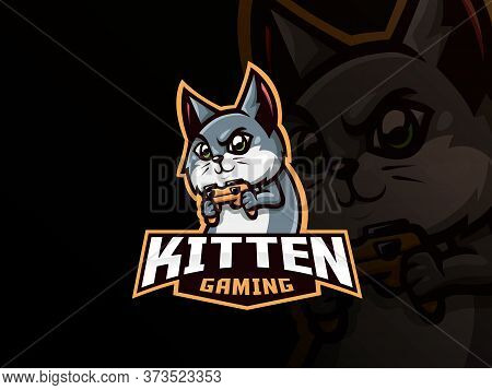 Cat Mascot Sport Logo Design. Cat Gamer Mascot Vector Illustration Logo. Kitten Playing Game With Ga