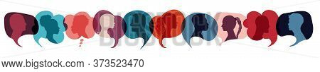 Speech Bubble With Multiethnic People. Communication And Social Network Concept. Communicate And Tal