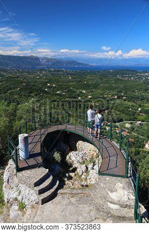 Corfu, Greece - June 3, 2016: People Visit Kaiser's Throne Overlook Viewpoint, Corfu Island, Greece.