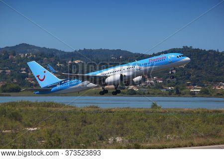 Corfu, Greece - June 6, 2016: Thomson Airways Boeing 757 At Corfu International Airport, Greece. Tho