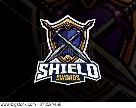 Shield And Swords Badge Sport Logo Design. Warrior Emblem Vector Illustration. Shield And Weapon Sym