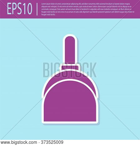 Retro Purple Dustpan Icon Isolated On Turquoise Background. Cleaning Scoop Services. Vector Illustra