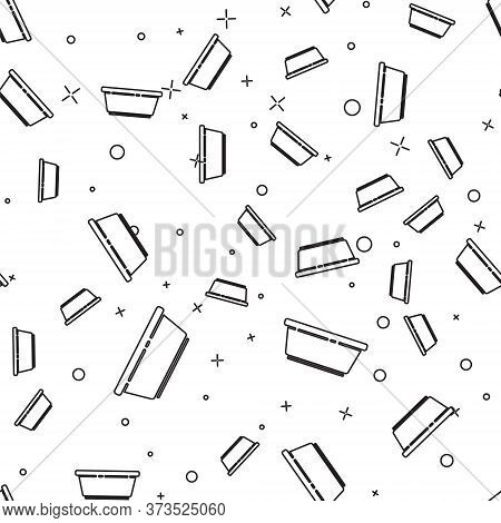 Black Line Plastic Basin Icon Isolated Seamless Pattern On White Background. Bowl With Water. Washin