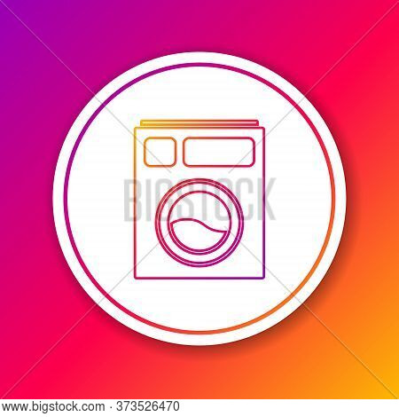 Color Line Washer Icon Isolated On Color Background. Washing Machine Icon. Clothes Washer - Laundry
