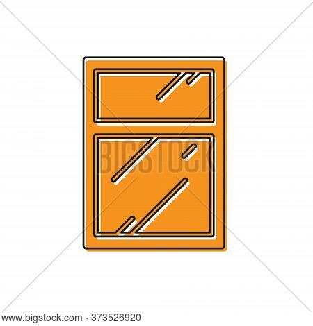 Orange Cleaning Service For Windows Icon Isolated On White Background. Squeegee, Scraper, Wiper. Vec
