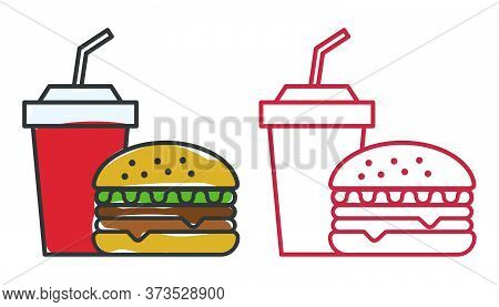 Fast Food Icons, Color And Outline Style