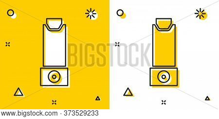 Black Inhaler Icon Isolated On Yellow And White Background. Breather For Cough Relief, Inhalation, A