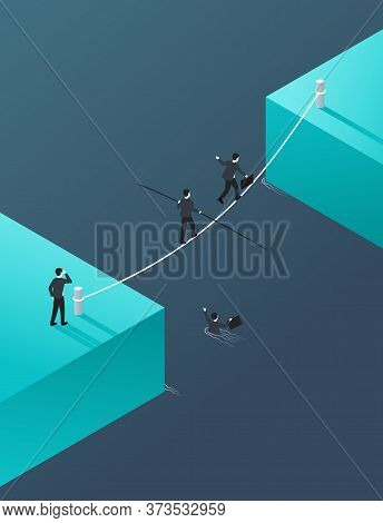 Business Risk And Professional Strategy Concept - Business People Team Crossing Cross The River On A