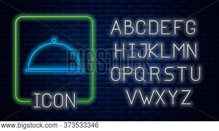 Glowing Neon Covered With A Tray Of Food Icon Isolated On Brick Wall Background. Tray And Lid. Resta