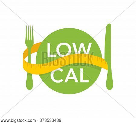 Low Cal Stamp - Plate With Fork, Knife And Measuring Tape Around - Pictogram For Dietary Low-cal Foo