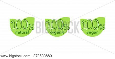 100 Natural, 100 Organic, 100 Vegan Icon - Hand-drawn Hundred Percent Eco-friendly Stamp For Healthy