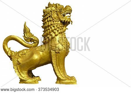 A Lion Temple Protector.  This Sculpture Made Of Bricks And Lime And Painted In White Or Gold Is Gen