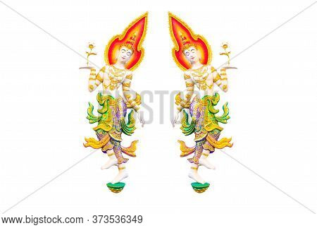 Beautiful Painted Stucco Of An Angle, Classical Thai Style, On White Background. Thai Temples Are Of