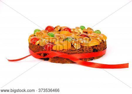 Christmas And New Year Fruitcake, Isolated On White Background