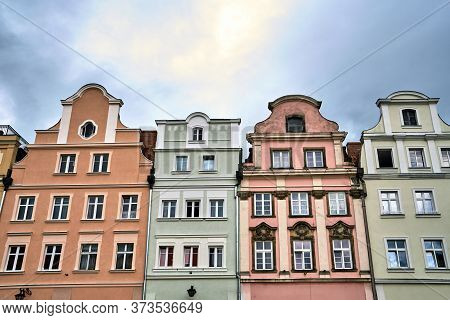 Facades Of Historic Tenement Houses On The Market Square In Jelenia Gora In Poland