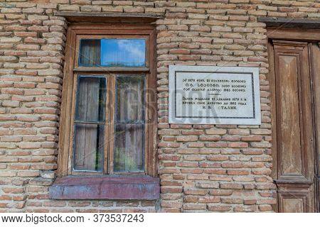 Gori, Georgia - July 15, 2017: Stalin Birthouse In Gori Town, Georgia. The Text Says: Stalin Was Bor