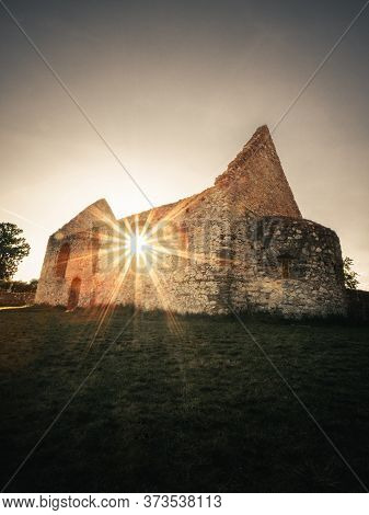 Vertical Photo Of Old And Ancient Ruins With Ruined Wall On Sunset - Europe (slovakia). Old Ruins (c
