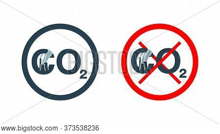 Co2 Emissions Icon - Atmosphere Contamination With Industry Pollution - Carbon Dioxide Isolated Flat
