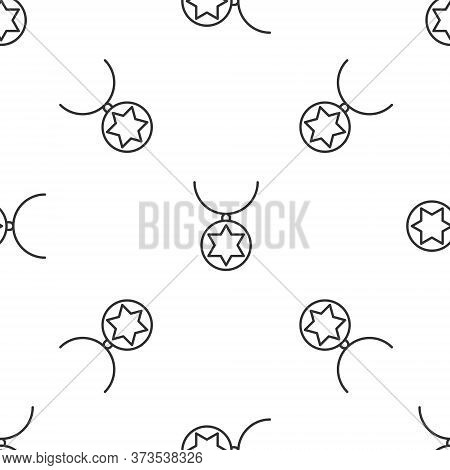 Grey Line Star Of David Necklace On Chain Icon Isolated Seamless Pattern On White Background. Jewish