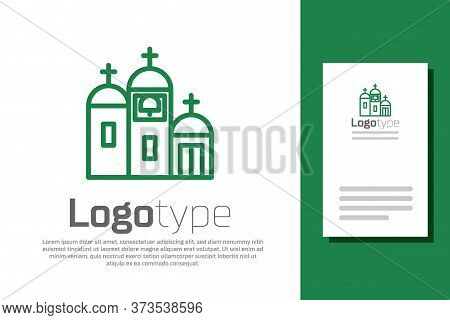 Green Line Church Building Icon Isolated On White Background. Christian Church. Religion Of Church.