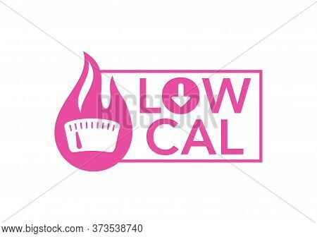 Low Cal Sticker - Combination Of Fire  And Weight Scales - Pictogram For Dietary Low-cal Food Produc