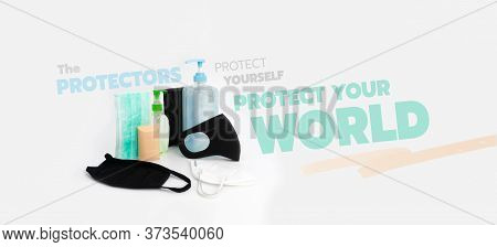 The Protective Objects; Alcohol Gel, Hygienic Mask, Soap In The Protections Set With Graphic Text
