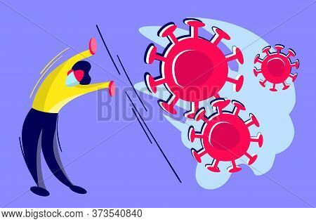Stock Vector Illustration Of Coronavirus Second Wave Concept. Brave Man, Doctor Or Businessman Is Tr