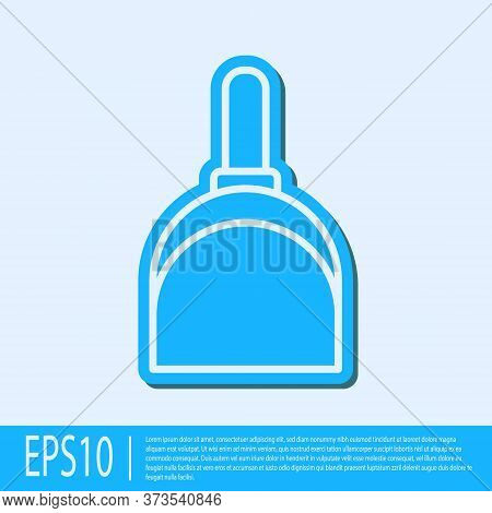 Blue Line Dustpan Icon Isolated On Grey Background. Cleaning Scoop Services. Vector Illustration