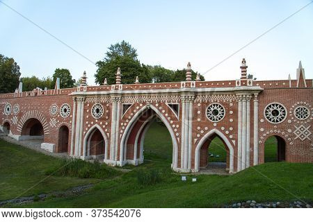 Large Bridge Over The Ravine In The Museum Reserve Tsaritsyno. Moscow Attractions Of World Tourism.