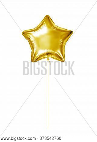 Gold Foil Balloon. Golden Helium Balloon Star Isolated On A White Background. Holiday Gift. Design O