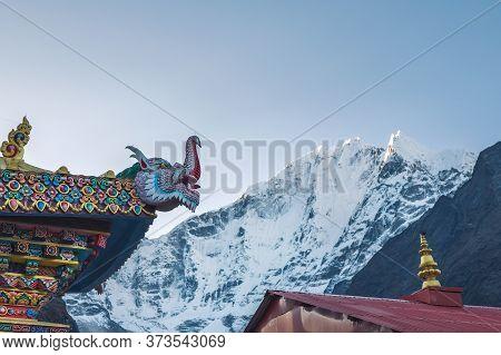 Tengboche Monastery Roof Traditional Tibetan Buddhism Decoration With Kangtega 6782m Mountain Peak O
