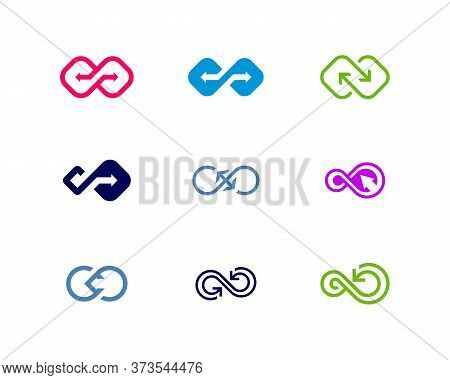 Set Of Arrow Infinity Logo Vector Template, Creative Infinity Logo Design Concept