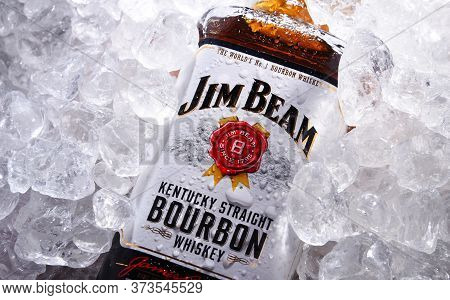 Bottle Of Jim Beam Bourbon In Crushed Ice